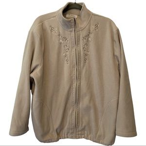 Tradition country collection beige fleece zipper cottagecore embroidered jacket